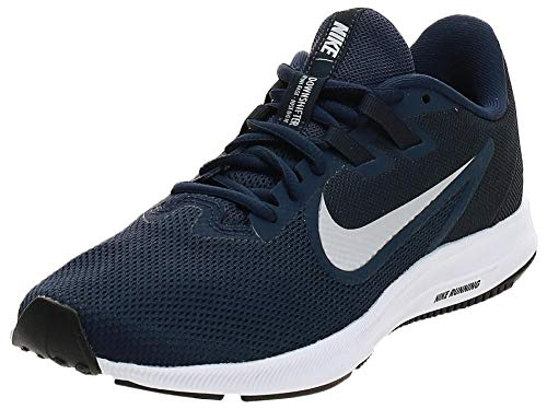Nike Downshifter 9, Zapatillas de Running para Asfalto Hombre, Multicolor (Midnight Navy/Pure Platinum 401), 41 EU