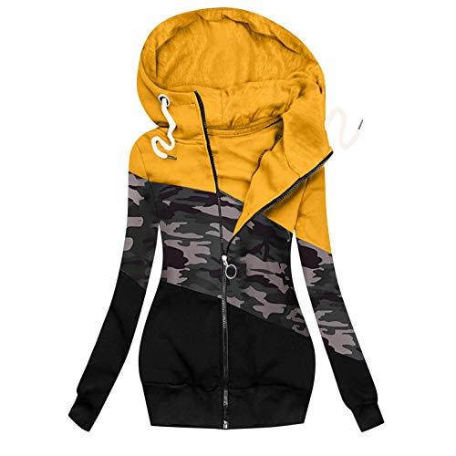 Sunggoko Chaqueta de tela con capucha para mujer, para otoño, patchwork, para exteriores, informal, con capucha, cremallera, bolsillos, cordón, para exteriores 01, 04-amarillo, L