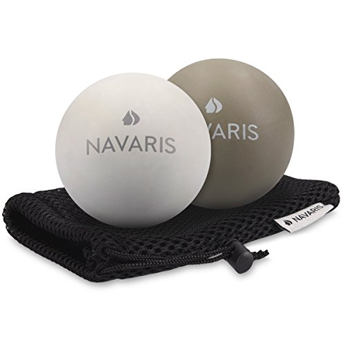 Navaris Massageball 2er Set Faszien Massage - Selbstmassage Gummi Faszienball Lacrosse Ball Trigger Point - Fuß Roller Triggerpunkte