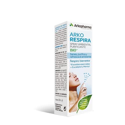 Arkopharma Arkorespira Spray Ambiental Purificante BIO 30ml, Sanea, Purifica y Refresca el Ambiente, Con Aceites Esenciales, Eucaliptol y Mentol
