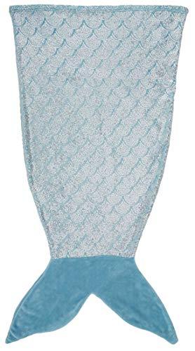 AmazonBasics Kids Fleece Tail Blanket - 15'' x 40'', Blue Mermaid