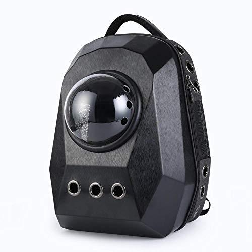 xiaokeai Borsa per animali spaziale portatile-Grande diamante tridimensionale spazzolato nero zaino,zaino porta pc,zaino eastpak