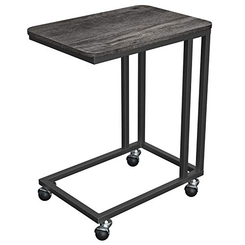 VASAGLE Industrial Side Table, End Table for Coffee Laptop Tablet, Mobile Table with Rolling Casters, Steel Frame, for Living Room, Bedroom, Charcoal Gray and Black ULNT050B04