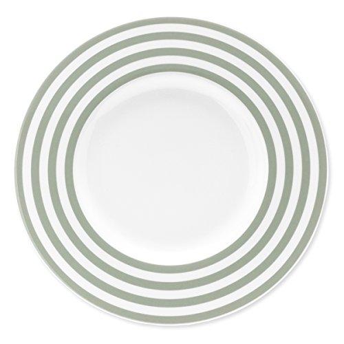 Bruno Evrard Assiette Plate à Rayures Vert Sauge en Porcelaine 29cm - Lot de 6 - Freshness Lines