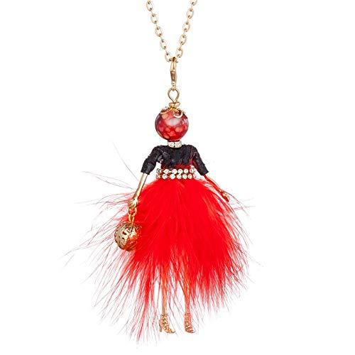 CGAYG Neue Puppe Halskette Flauschigen Kleid Lange Kette Anhänger Strass Halsketten Frauen Mädchen Schmuck Rot