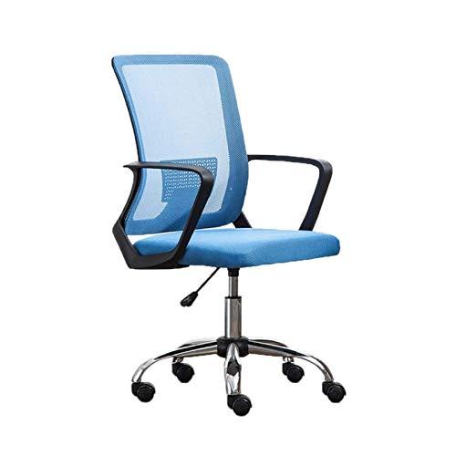 CSD Computer System Silla de Oficina ergonómica Silla de Oficina Abdomen Apoyo de la Oficina Sillón Volver Tubular Impermeable Silla de Oficina Comfort (Color : Blue)