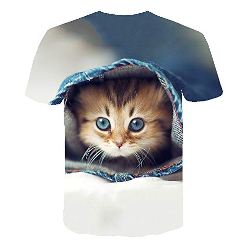 FANGDADAN 3D T-Shirt,Unisex Summer Novelty Camisetas Casual Fashion Crewneck Lindo Animal Divertido Gato Gráfico Camisas De Manga Corta para Hombres Y Mujeres Más Tamaño tee Top, Toalla,3X, Grande