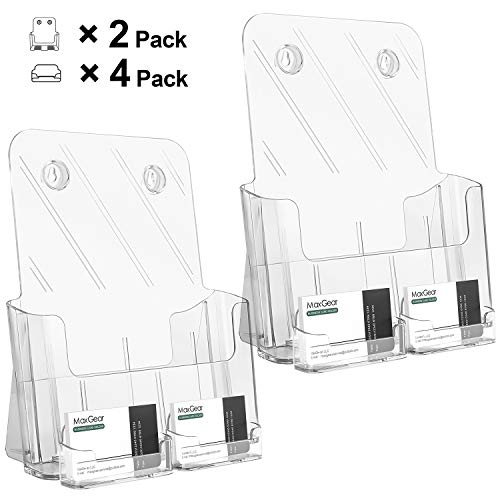 MaxGear 2 Pack Acrylic Brochure Holder, 8.5x11 inches Flyer Holder Brochure Holders Plastic Literature Holder Rack Card Holder for Magazine, Pamphlet with 4 Pack Acrylic Business Card Holder