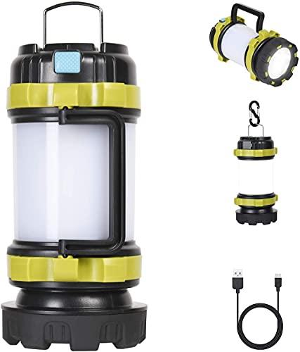 Flintronic Linterna de Cámping, Antorcha LED para iluminación Exterior, 6 Modos, 1000LM Resistente al Agua, Recargables 3600mAh Banco de energía, Perfecta para Senderismo, Pesca, Emergencia