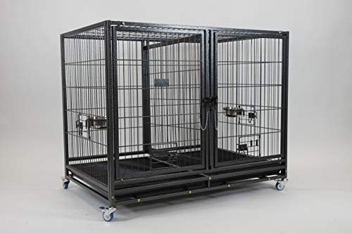Homey Pet-43 All Metal Open Top Stackable Heavy Duty Cage(Lower) w/ Floor Grid, Tray, Divider, Open Top, and Feeding Bowl