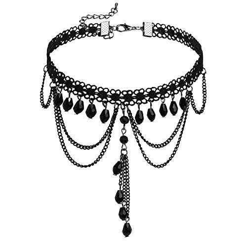 AueDsa Collares Acero Inoxidable Mujer Collar Plata Negro Cadena de Borla con Gota de Agua