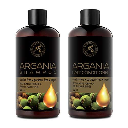 Argan Oil Set per Capelli - Argan Oil Shampoo & Agran Oil Conditioner 2x480 ml - Argan Naturale e Olio Oliva con Estratti di Erbe per Tutti i Tipi di Capelli - Formula Riparatrice - Cura dei Capelli