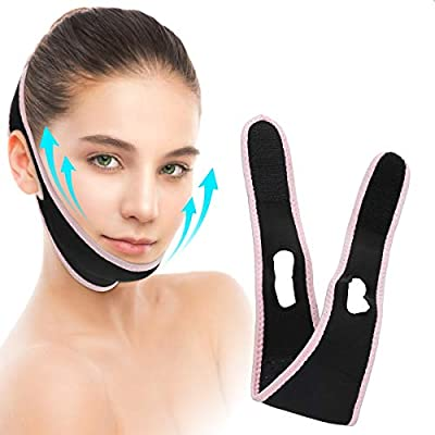 LIUMY Face Lifting Belt, Painless Double Chin Reducer, Snore Stopper Face Lift and Slimmer Belt, V Line Face Lift for Men or Women, Face Shaper (light pink)