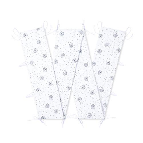 Amilian Bettumrandung für Kinderbett Baby Nest Kopfschutz Nestchen Bettnestchen Baby Kantenschutz Pusteblume Weiß 420cm x 30cm (für das Babybett 140x70cm- rundherum)