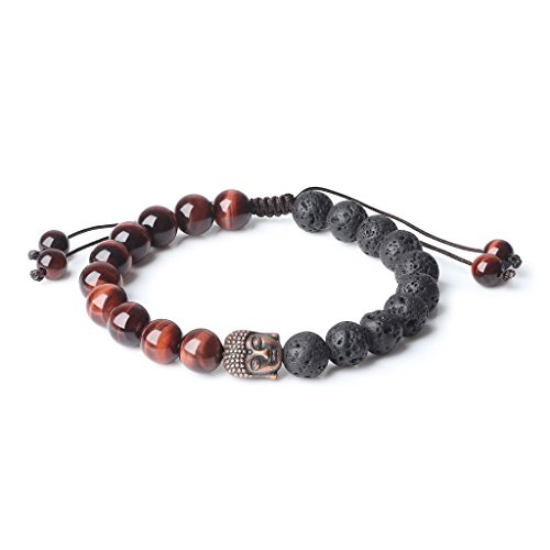 COAI Mala Prayer Beads Red Tiger Eye Lava Genuine Stones Bracelet for Essential Oil