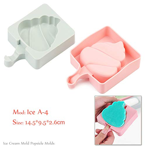 Coner Silicone Ice Cream Mold Popsicle Mallen Frozen Ice Mold met Popsicle Sticks Homemade Freezer Ice Lolly Mold, Ice A -4