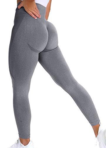 INSTINNCT Damen Scrunch Butt Leggings Booty Lifting Laufhose Sportstrumpfhosen Po Push Up Tights Yoga Pants Fitnesshose Yogahose Jogging Running Workout Training Gym Fitness Hellgrau S