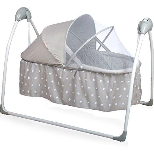 Babyschaukel/Babybett (vollautomatisch 240V) mit 5 Schaukelgeschwindigkeiten, 12 Melodien & 3 Timer (Inklusive: Matratze & Baldachin mit Moskitonetz) (Grau Sterne)