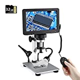 Digital Microscope with 7 Inch LCD Screen, TaihonSee 1080P Lab Handheld Digital Microscopes for Adults Kids,Metal Stand USB Camera Microscope for Coins, Electronic Repair, Computer, Mac