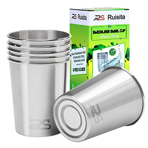 professional Ruisita 6 Pack 8oz Stainless Steel Cup Anti-Scattering Stainless Steel Drinking Cup Metal…