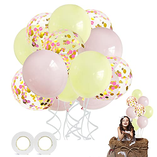 Ballons Pastel, 60 PCS ballon de baudruche Ballon Macaron Ballons de Latex pour Mariage Anniversaire , Fond fête décoration Fournitures, Décorations d'anniversaire Festival (Rose jaune)