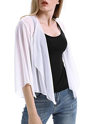 Mrs. Li's shop Chiffon Loose Cardigans Sun Hoodie UV Protection Gift for Women, Girl, Running, Cycling, Fishing Women's Sheer Chiffon Kimono Cardigan Solid Casual-White_XXL