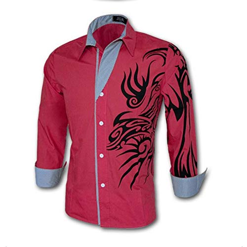 Camisa de Manga Larga para Hombre Primavera Chino Camisa de Manga Larga Estampada a la Moda Camisa Casual de Manga Larga para Todos los Partidos M