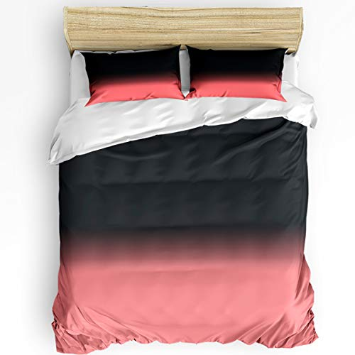 Fandim Fly 3 Pieces Ultra Soft Duvet Cover Set Twin Size Black-Pink Gradient Color Bedding Set (Insert Excluded) with Zipper Closure for All Season 68 x 86 Inch