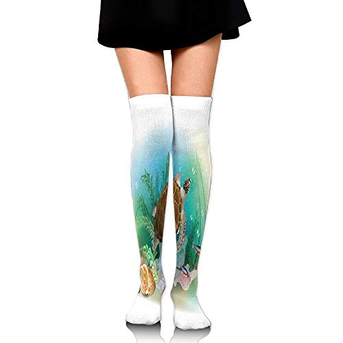 Casepillows Sea Turtle Swims In The Ocean Tropical Underwater World Aquarium Illustratie Print Vrouwen Fashion Over The Knee High Socks (60cm)