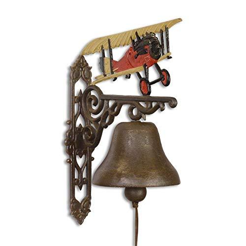 Moritz grote gietijzeren wandklok vliegtuig rode dubbele dekker landet bel deurbel 56,1 cm hoogte huisbel antieke stijl bruin bel versierd