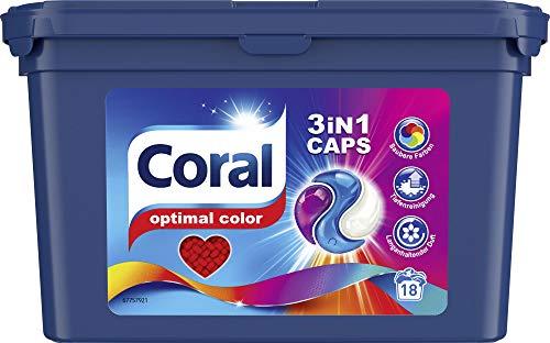 Coral 3in1 Caps Waschmittel Optimal Color für bunte Wäsche Colorwaschmittel mit 3-Kammern-Technologie 18 WL 1 Stück