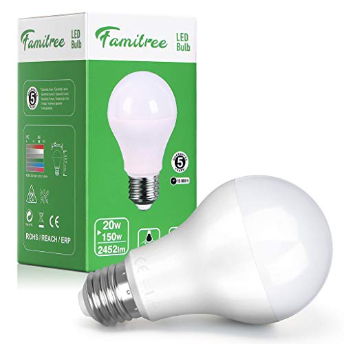 Famitree- Bombilla LED E27 20W equivalente a 150 W, 3000K,2452 lúmenes,Luz Blanca Cálida, no regulable - 1 unidades