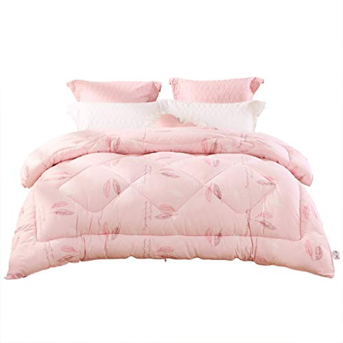 Duvets Thickened Dormitory Quilt Single Warm Winter Quilt Printed Quilt Full Filling, Simple And Stylish, Soft To The Touch (Color : Pink, Size : 220 * 240cm)