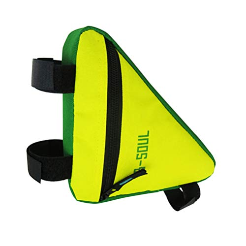 Abaodam Bolsa de bicicleta triangular resistente al agua para bicicleta bolsa de maletero Oxford bolsa con múltiples bolsillos para viajeros al aire libre senderismo viajar amarillo