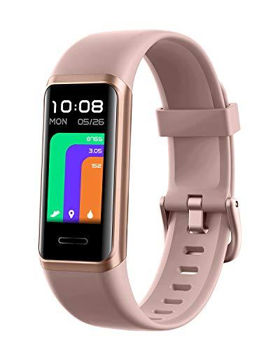 DOOGEE DG Band Smartwatch, Reloj Inteligente con Alexa, Impermeable IP68 Reloj Deportivo Hombre Mujer niños, Oxígeno En Sangre, Pulsómetro, Monitor de Sueño, 14 Modos Deporte, para Android iOS, Rosa