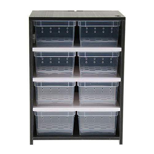 Hwydo PVC kweekkast voor Reptiel in Winter Reptiel Terrarium met fokdozen, zwart (zonder verwarming pad)