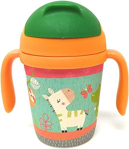 Vaso Bambu Infantil con Pajita - Jarra con Asas, Tapa y Boquilla de Fibra de Bambú 300 ML - Ideal Bebé o Niños - Material Ecologico, Ligero y Seguro - Botella Eco,Bio, Sin BPA - Apto para Lavavajillas