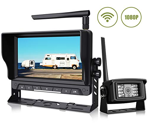 "Wireless Backup Camera with 7"" Digital Monitor 1080P Rear View Camera Observation System Anti Interference Reverse Camera for Travel Trailers RV Pickup Trucks Motorhome IP69K Waterproof Night Vision"