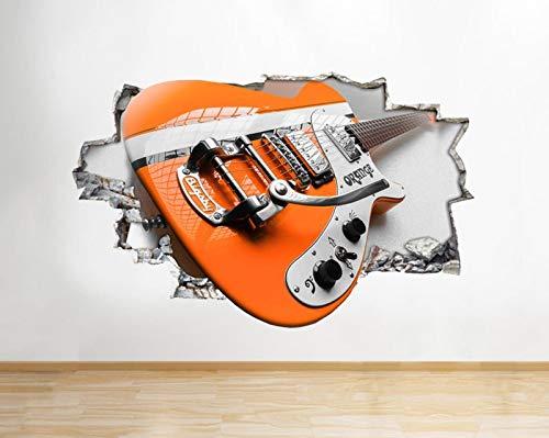 Adhesivo decorativo de vinilo con diseño de guitarra eléctrica, color naranja