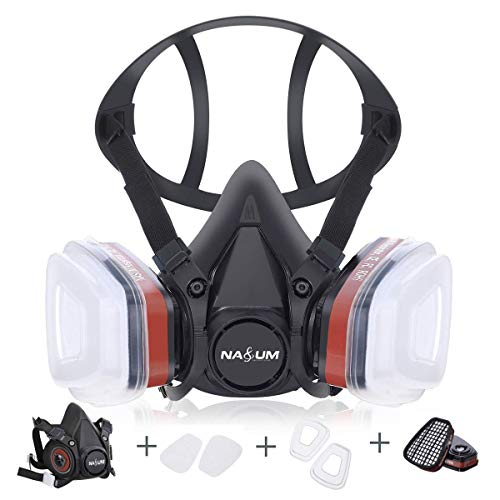 Halb Gesicht Abdeckung wiederverwendbar, NASUM Serie Schwarz M301, mit Filter*2, Baumwolle*4(Mitte), zum Lackieren, maschinellen Polieren, Schweißen und anderen Arbeitsschutz (mittel)