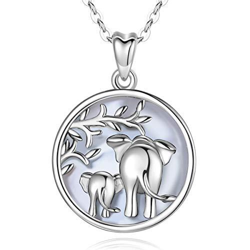 AEONSLOVE Collar Plata Mujer Colgante Arbol De La Vida Plata Elefante De La Suerte Amor Familiar Collares con Madre y Hija Bebé Elefante Regalo Joyas para Mamá