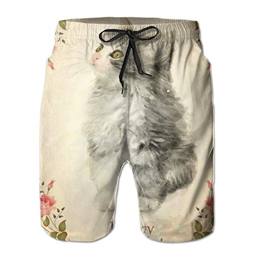 Men's Big and Tall Swim Trunks Beachwear Drawstring Summer Holiday,Adorable Fluffy Cat Rose Branches Greeting Card Inspired Design,Large,3D Print Shorts Pants
