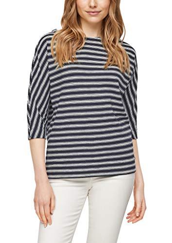 s.Oliver Damen Streifenshirt mit Fledermausärmeln Navy Stripes 46
