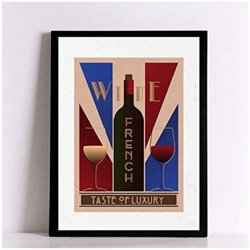 Vintage Wine Poster Art Print Wall Pictures Francés Español Chile Vino Lienzo Pintura Restaurante y bares Decoración retro-20x28 pulgadas Sin marco