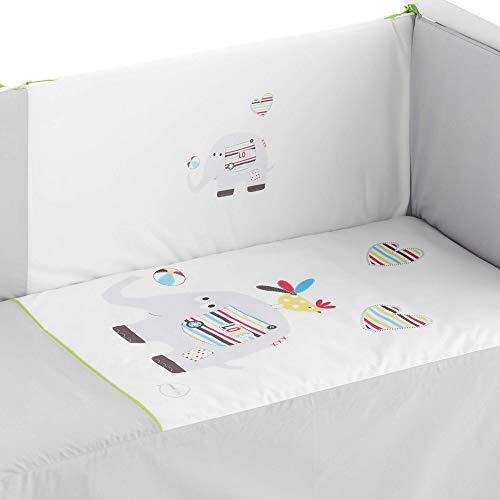 Pekebaby Edredón desenfundable Cuna (60 x 120 cm) + Protector desenfundable 60/70/80 (43 x 185 cm) + Cojín LOVEPHANT