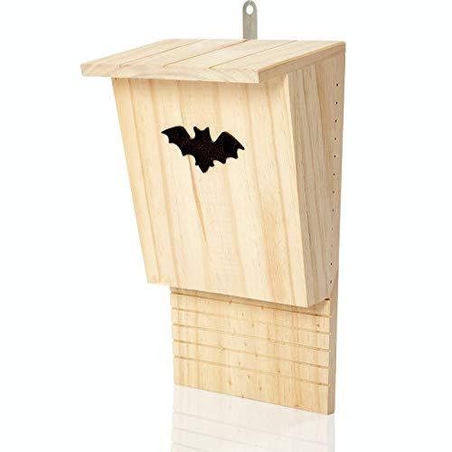 deintierhaus.de© | Fledermaushaus aus Naturholz - Nistkasten & Schlafplatz für Fledermäuse - Fledermauskasten zum Aufhängen - fertig montiert & wetterfest - Fledermaushöhle | 34 x 21,5 x 12 cm