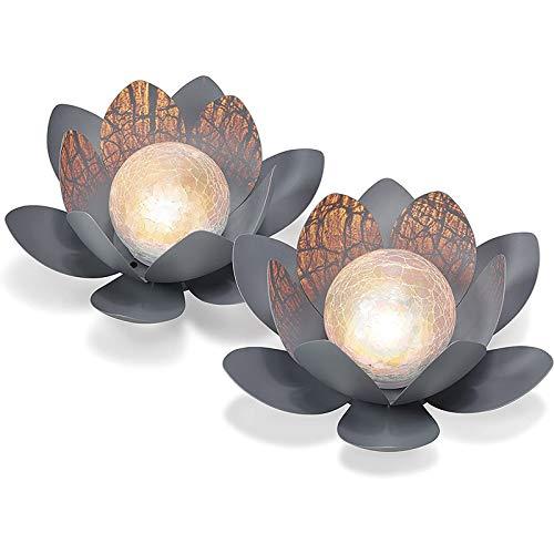 Dekoratives Solar Lotusblüten 2er Set aus Metall - angenehm...