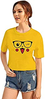 CrazyInk T-Shirt for Women Printed T-Shirt for Women! _Sunglass Pikachu White Printed T-Shirt | Half Sleeve T-Shirt | Round Neck T Shirt | 100% Dry Fit Polyster T-Shirt | Short Sleeve T Shirt
