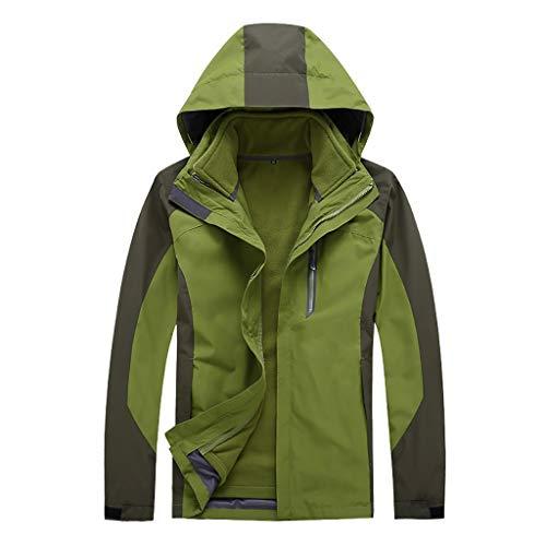 IHGWE Abrigo deportivo para hombre, con capucha softshell, resistente al viento, resistente al agua, Soft Coat Shell Verde militar. S