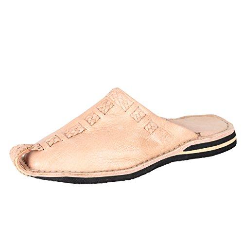 albena Marokko Galerie Unisex marokkanische Schuhe Leder Pantoffel Aladin (38, Natur)